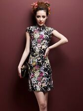 Cotton dress improved Chinese cheongsam retro black vine flowers stretch linen