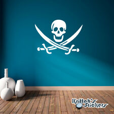 Jolly Roger Pirate Symbol Vinyl Wall Decal skeleton nautical sticker K009-W