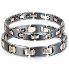 Couples Ceramic Steel Magnetic Therapy Power Rhinestone CZ Health Bracelet Chain