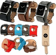 Genuine Leather Watch Band Cuff Bracelet Steel Buckle For Apple Watch 38MM 42MM