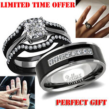 His and Hers Wedding Ring Sets Couples Matching Rings Titanium Wedding Bands
