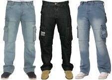 MENS NEW ENZO EZ295 LIGHTWASH CARGO COMBAT STYLE DENIM JEANS BIG SIZES 28-48