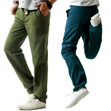 Mens Pants Cotton Linen casual trousers straight elastic waist breathable pants