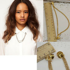Stud Shirts Collar Neck Tip Brooch Pin Chain Tassels Necklace Punk Gothic Charm