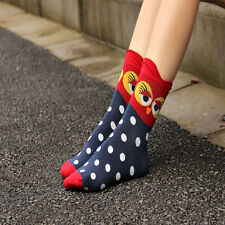 1Pair Unique Women and Girls Cartoon Lovely Cute Owl Cotton Fashion Socks Hot