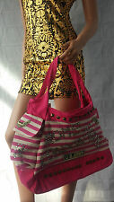 NEW women's, ladies pink/red/navy striped and studded handbag, vintage style