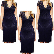 Women Laddies Sexy V-Neck Party Lace Evening Cocktail Slim Dress Size **8-20**