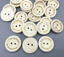 """Wooden Buttons 2 Holes Sewing """"Handmade"""" Lettering Scrapbooking Craft 20mm"""