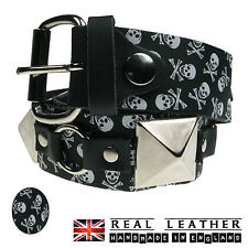 38mm Mens Handmade Strong 100% Pattern Print Real Leather Jeans Buckle SID Belt