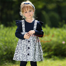 Girl Dress Navy And White Flower With Black Button Toddler Kids Spring Clothing