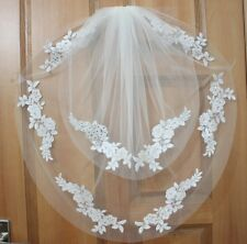 New style two layer white / ivory gauze handmade applique bridal veil elbow