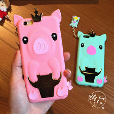 Cute 3D Cartoon Crown pig soft Rubber stand cover case for apple iPhone6 6s plus