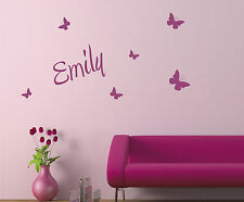 Personalised Name Butterfly Wall Art sticker Custom Girls Bedroom vinyl decal