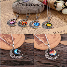 Women Girl Galactic Glass Cabochon Pendant Silver-Tone Crescent Moon Necklace