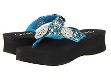 GRAZIE FLIP FLOPS SANDALS SHOES TRAPEZE WOMENS RHINESTONE TURQUOISE BLUE NEW