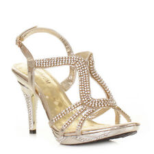 Womens Ladies Gold Diamante Party Strappy Embellished Platform Shoes Size 3-8