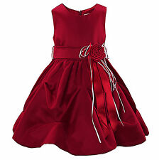 Girl's Party Dresses Red Satin Flower Girl Formal Wedding Birthday Pageant Dress