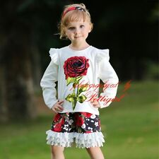 2PCS Girls Clothing Set Sequined Rose T-Shirt and Flower Shorts Baby Kids Outfit