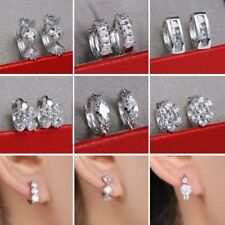 Women Trendy White Gold Plated CZ Copper Leverback Hoop Stud Round Earrings Gift