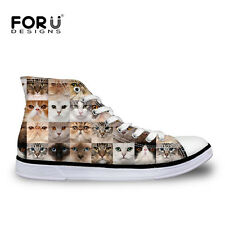 Animal Dog Cat Womens High Top Comfy Ankle Sneakers Casual Canvas Sneakers Shoes