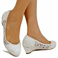 New Ladies Bridal Low Wedge Heel Ivory/White Satin Floral Lace Court Shoes-C-39