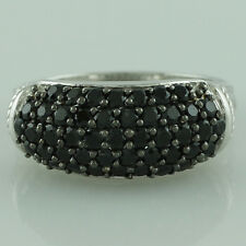 Black Spinel,White Topaz 925 Sterling Silver Right Hand 1.63 ctw Ring GSR1223