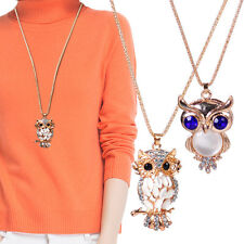 Fashion Sweater Jewelry Charm Rhinestone Crystal Owl Pendant Necklace Long Chain