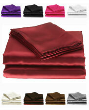 Silky Satin Fitted, Flat Bed sheets or Pillowcases Single Double King Superking