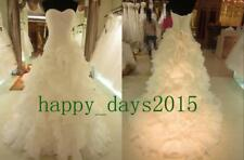 New Pleat Tiered Train Customize Wedding Dress 2 4 6 8 10 12 14 16 18 S665