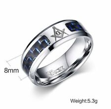 Masonic Rings Stainless Steel Men Ring with Blue Carbon Fiber Size 9,10,11