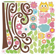 Large Owl Scroll Tree Wall Art Decal Removable Vinyl Nursery Stickers Kids Decor
