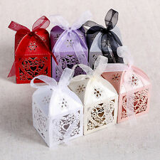 50Pcs Love Heart Laser Cut Candy Gift Boxes With Ribbon Wedding Party Favor NEW