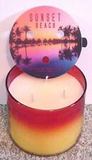 BATH & BODY WORKS / WHITE BARN 14.5 oz 3 WICK SCENTED CANDLES ~SUNSET BEACH~