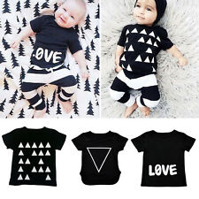 Kids Infant Tops T Shirt Pants Baby Outfits Suits Toddler Stripe Trousers Sets