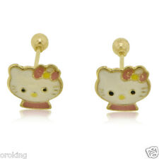 14K Solid Yellow Gold Hello Kitty Half body Stud Earrings-Safety Screw Backing
