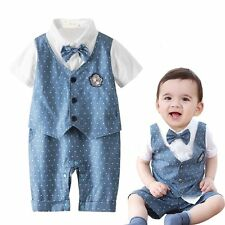 Baby Boy Wedding Formal Party Tuxedo Polka Dot Suit Romper Outfit Clothes 3-18M