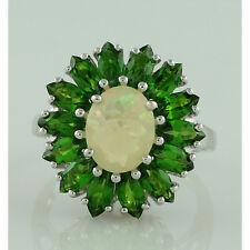 Solid Gold Ethiopian Opal,Chrome Diopside Right Hand Ring GSR905