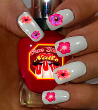Hibiscus Flowers Nail Art Stickers with Tweety Transfers Decals FH002-52