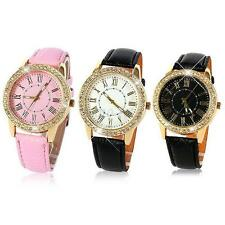 Women Lady Leather Round Wrist Watch Girls Watches Leahter Band Analog Quartz