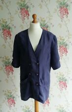 Size 18 silk jacket womens vtg clothing french navy shirt 80s fashion uk summer