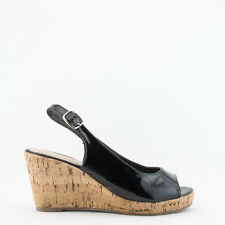 Womens Patent Black Peep-Toe Slingback Cork Wedge Bella Marie Soda-10