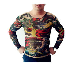 Tattoo Shirt Mesh Sleeves Temorary Arm Body Art  Sport T-Shirt Dragon ST-06