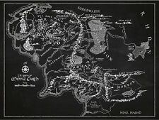 Middle Earth Map Handmade Silk Screen Print Wall Art Lord of The Rings Poster