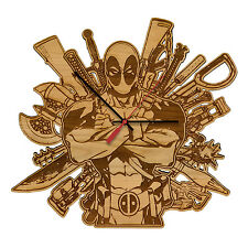 Deadpool - Arms Race Laser Engraved Artisan Wood Clock in Cherry and Walnut
