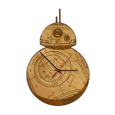 BB-8 - Star Wars Laser Engraved Artisan Wood Clock in Cherry and Walnut