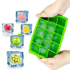 15-Cavity Large Cube Ice Pudding Jelly Soap Maker Mold Mould Tray Silicone 46hg