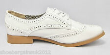 Womens New White Patent Heel Brogues Lace Up Casual Formal Wedding Shoes UK 3- 9