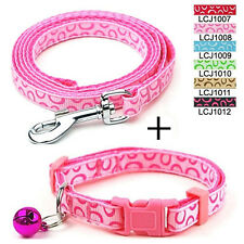 Small Dog Cat Nylon Collar & Walking Leash Set Puppy Pet Bubble Print 1cm Wide