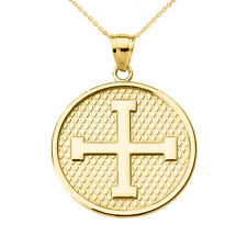 14k Yellow Gold Greek Cross Round Disc Pendant Necklace