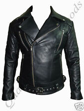 MEN GENUINE LEATHER JACKET BIKER QUILTED PADDED BLUF ROCK PUNK